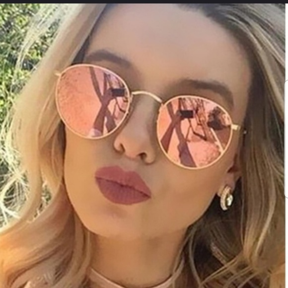 2642b2971 Boutique Accessories | Rose Gold Round Frame Mirrored Sunglasses ...